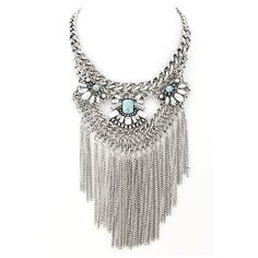 Boho Fringe Statement Necklace ($30) ❤ liked on Polyvore featuring jewelry, necklaces, bohemian necklaces, boho style jewelry, statement necklace, bib statement necklace and boho jewelry