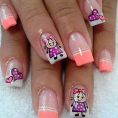 Uñas Creative Nail Designs, Short Nail Designs, Creative Nails, Crazy Nails, Love Nails, Pretty Nails, Neon Nails, Diy Nails, Cute Nail Art