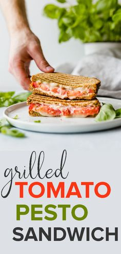 This Grilled Tomato, Mozzarella, and Pesto Sandwich is bursting with flavor! The pesto, mayo, and tomato make for an extra moist and juicy sandwich! Full recipe is at saltandbaker.com #saltandbaker #sandwiches #lunchideas #sandwichrecipes #easyrecipes #kidfriendly #tomato #pesto