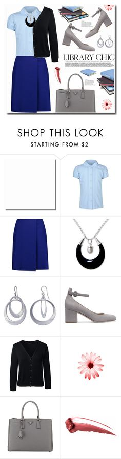 """""""Library Chic"""" by ucetmal-1 ❤ liked on Polyvore featuring George, Acne Studios, NOVICA, Kothari, Gianvito Rossi, Lands' End, Prada, skirts, polyvoreeditorial and libratychic"""