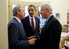 George W. Bush, Barack Obama and Bill Clinton in the Oval Office, White House.