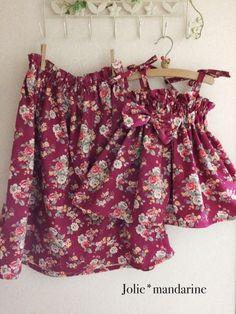 ハンドメイドマーケット+minne(ミンネ) +親子でお揃いコーデ♪ママ用ギャザースカートとお子様4wayワンピース&スカートセット(エレガントローズボルドー)