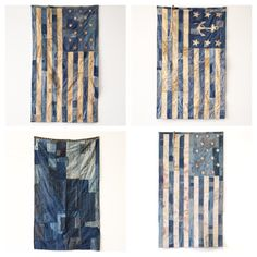 Material Culture for a Material World Fabric Crafts, Sewing Crafts, American Flag Quilt, Blue Jean Quilts, Denim Ideas, Vintage Textiles, Red White Blue, Handmade Bags, Fiber Art