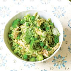Healthy Chicken and rice salad with mint pesto and peas recipe. For the full recipe and more, click the picture or visit RedOnline.co.uk
