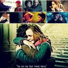 Harry and Hermione. They really did belong together until the third book when Ron and Hermione were fighting. Then I could that Harry was gonna be with Ginny and Ron and Hermione were gonna be together. Harry Potter Hermione, Harry Potter Love, Hermione Granger, James Potter, Mischief Managed, Book Fandoms, Hunger Games, Hogwarts, Movies
