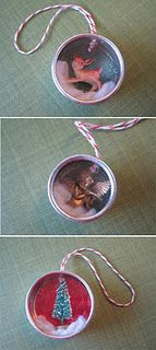 start saving lids for ornaments!  MAK note: Have done this but never this cute! Instead of Christmas, think of other things kids can create to put in the lids, little paintings or drawings or tiny sculptures, and not for Christmas necessarily. Consider backgrounds kids design. Translate to cardboard boxes or other containers.