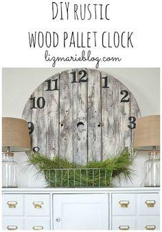 DIY wood pallet clock. So easy!! & how to whitewash for a rustic look - lizmarieblog.com