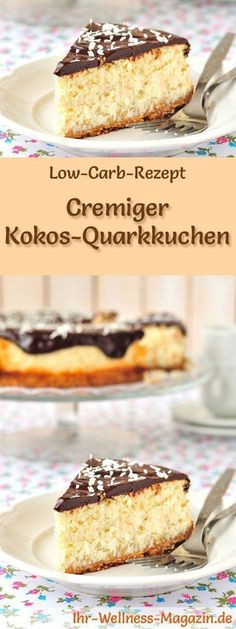 Rezept für Low Carb Kokos-Quarkkuchen: Der kohlenhydratarme, kalorienreduzierte Kuchen wird ohne Zucker und Getreidemehl zubereitet ... #lowcarb #kuchen #backen
