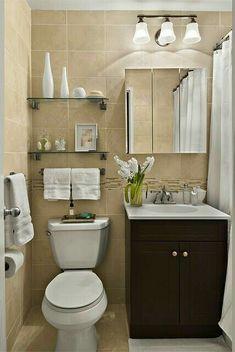 Prateleiras, decoradas no banheiro da um charme especial.