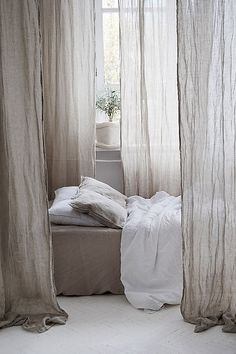 Pure linen canopy bed curtain panels from Etsy! This can be placed with either an actual canopy bed structure, or a structure support can be made with something attached to the ceiling. Linen Curtains, Canopy Bedroom, Cheap Bed Sheets, Bed Linen Design, Bed, Bed Linens Luxury, Bed Curtains, Linen Bedding, White Linen Bedding
