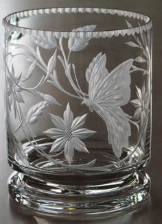 Butterfly Dance* Hand Engraved Crystal Vase by Catherine Miller using stone wheels.