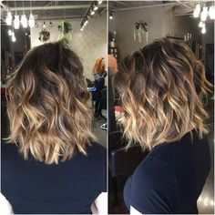 Brown Balayage Ombré Hairstyles with Curly Hair - Shoulder Length Haircut Ideas 2017