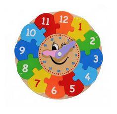 Puzzle drewniane - zegar z ruchomymi wskazówkami.  #zabawki_edukacyjne #supermisiopl