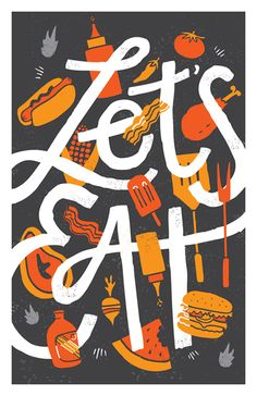 """""""Let's Eat"""" Vaughn Fender, Stamford, CTvaughnfender.com, @Vaughn Fender 11"""" x 17"""" Limited Prints, $25 + $5 shipping (in the US) CLICK HERE TO BUY NOW See other pieces in the Hamburger Cheeseburger Hotdog show"""
