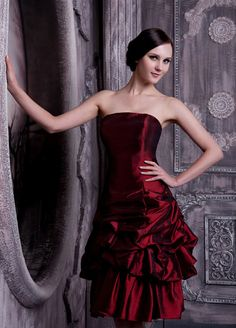 Ruby Lovely Taffeta Ball Gown Knee-length Strapless Ruched Bottom Evening Dress
