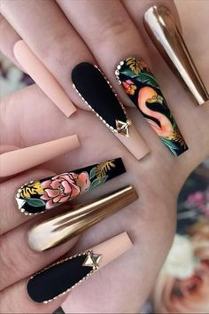 The Best Acrylic Coffin Nails for Females Edgy Nails, Stylish Nails, Swag Nails, Coffin Nails Designs Summer, Cute Acrylic Nail Designs, Bling Acrylic Nails, Best Acrylic Nails, Acrylic Set, Gucci Nails