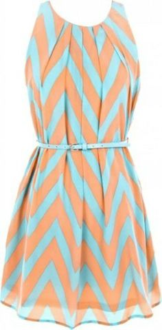 mint and coral chevron dress.