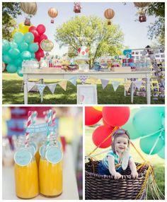 Hot Air Balloon Up Up and Away 1st birthday party via Kara's Party Ideas KarasPartyIdeas.com #hotairballoonparty #upupandaway #hotairballoonpartyideas #firstbirthday (1)