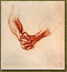 Clasped hands, drawn in North Africa in by Ivor Hele, Australia's longest serving war artist. Hand Anatomy, Artist Sketchbook, Anatomy Drawing, Aboriginal Art, North Africa, New Art, Illustrators, Etchings, Special People