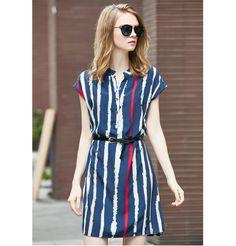 2016 New Summer dress Fashion Women's Clothing Shirtdress vertical stripe OL short sleeve plus size Vestidos(Send belt)