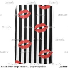 Shop Black & White Stripe with Red Lips Kitchen Towel created by HydrangeaBlue.