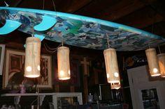 Custom repurposed Surfboard hanging light fixture by hblisastewart, $600.00