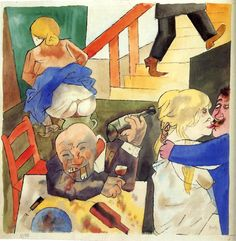 george Grosz - Excesos en el Berlin night club Max Beckmann, Art And Illustration, Ludwig Meidner, John Heartfield, George Grosz, Degenerate Art, Art Students League, Arte Horror, Art Abstrait
