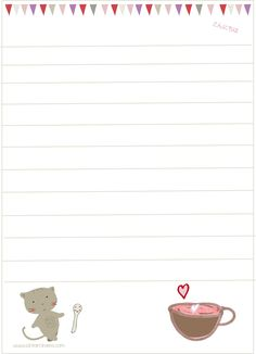 snail mail letter cat and tea letter~matching stationery from ishtarolivera.com