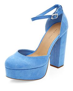 Pale Blue Pointed Platform Ankle Strap Heels | New Look