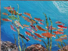 Run of the Salmon: by 5th grade students for Hidden Springs Elementary School Art Auction fundraiser with the help of Barbara K. Balkin/Back Gate Studio. Each kid created a salmon with oil pastels on paper; a few painted the background on 36x48 canvas. Rocks and grasses are magazine collage. Cut out salmon--glue on canvas--VOILA!