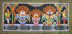 Lord Jagannath in Raja Vesha (King's Costume) (Orissa Pata Painting on Tussar Silk - Unframed)