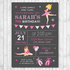 Ballet Invitation Ballet invite Ballet Party by funkymushrooms