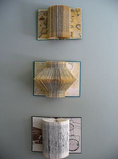 ReFab Diaries: Upcycle: Book folding - Free patterns Great idea for some new art on the walls and so clever Paper Art, Paper Crafts, Diy Crafts, Cut Paper, Paper Cutting, Book Projects, Diy Projects, Old Book Crafts, Book Sculpture