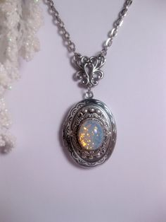 White Sea Opal Necklace Blue Opal Locket by FashionCrashJewelry
