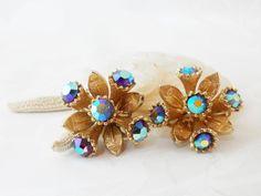 Aurora Borealis Crystal Clip On Earrings Gold Tone Metal Cluster Vintage Jewellery Ladies Accessories by BelieveToBeBeautiful on Etsy