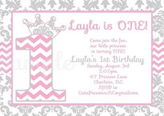 Pink and Grey Chevron Damask Invitation , Shabby Chic Invitations , by CutiePatootieCreations.com OR Cutiestiedyeboutique.etsy.com
