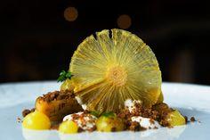 Pineapple & yogurt - marinated pineapple with pistachio crumbs, pineapple gel and yogurt sorbet. Sorbet, Pistachio, Yogurt, Delicious Desserts, Pineapple, Pistachios, Pine Apple