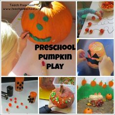 Preschool pumpkin play by Teach Preschool - lots of great ideas for learning in preschool this fall.