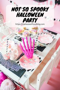 Chelsee from The House of Hood Blog shares a Not So Spooky Pink and Black Halloween Party perfect for any girly girl! Complete with a pink and black tablescape, spooky treats, and a balloon garland! This is the perfect theme for a play date, halloween party, or even an October birthday party! #pinkandblackparty #Balloongarland #halloweenparty #girlyhalloweenparty #pinkpumpkins #pinkparty #friendlyghost