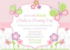 Girls First Birthday Pink Butterfly Flower by TheLovelyMemories, $12.00