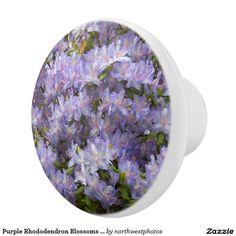Purple Rhododendron Blossoms Floral Photo Ceramic Knob