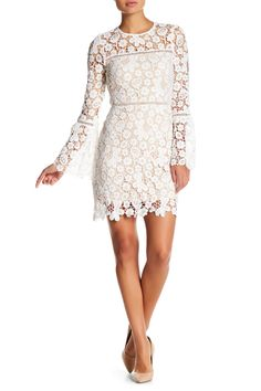 3ddb4c905 This White Just Me Bell Sleeve Crochet Lace Dress is stunning Coordinating  Colors, Crochet Lace