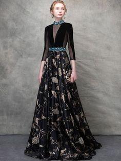 1d344dd23c47 Printing Sequined Contrast Deep V Neck Seven-Tenths Sleeves Backless  Dresses. Gaun DressBlack ...
