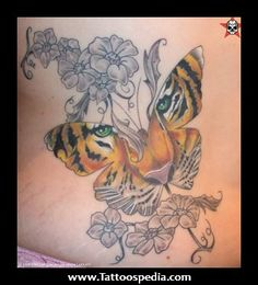 Tiger Head Butterfly And Gemini Tattoo