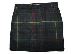 Women Ralph Lauren Sport Green Plaid Wool Mini Skirt Size 2 #RalphLauren #Mini