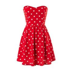 red strapless polka dot dress ($29) ❤ liked on Polyvore