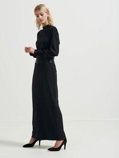 EMBELLISHED - LONG SLEEVED DRESS, Black, large