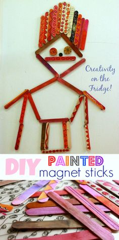 Creativity on the Fridge with DIY Painted Magnet Sticks - Easy for kids to make with wood craft sticks.