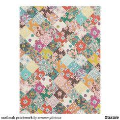 sarilmak patchwork fleece blanket @zazzle #sharonturner #patchwork #blanket #sarilmak #flowers #floral #boho #bohemian