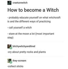 Witchy Tips & More: For Baby Witches & Broom Closet Dwellers - Random Tips & Tricks pt.IV Read Random Tips & Tricks pt.IV from the story Witchy Tips & More: For Baby Witches & Broom Closet Dwellers by _UNCHAIN. Wiccan Witch, Wicca Witchcraft, Magick Spells, Witch Meme, Witchcraft For Beginners, Baby Witch, Witch Broom, Modern Witch, Witch Aesthetic